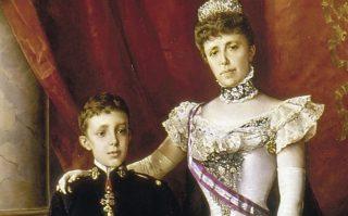 Alfons als kind met zijn moeder, Maria Christina - Luis Álvarez Catalá (Publiek Domein - wiki)