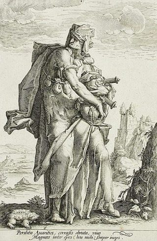 Verbeelding van de hebzucht - Gravure van Jacob Matham, ca. 1587