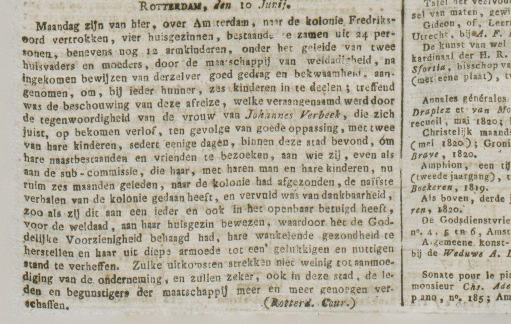 Het aangehaalde artikel in de Staatscourant van 12 juni 1820 (Delpher)