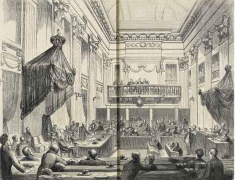 'De Tweede Kamer' Prent door J. M. Schmidt Crans in Nederlandsch Magazijn, nr. 48, 1860. Bron: Tussen politiek & publiek