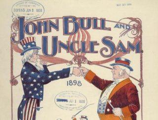 John Bull en Uncle Sam. Illustratie bij een lied dat in 1898 werd geschreven door een lid van het Britse parlement na het beëïndigen van een gezamenlijk grensconflict in Venezuela; de laatste keer dat Engeland (John Bull) en de Verenigde Staten (Uncle Sam) met elkaar op voet van oorlog stonden.