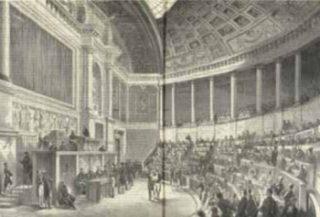 'Zitting van het Wetgevend Lichaam te Parijs' Prent door F. Thronig en F. Lix in Hollandsche Illustratie, 1864–1865, p. 28–29