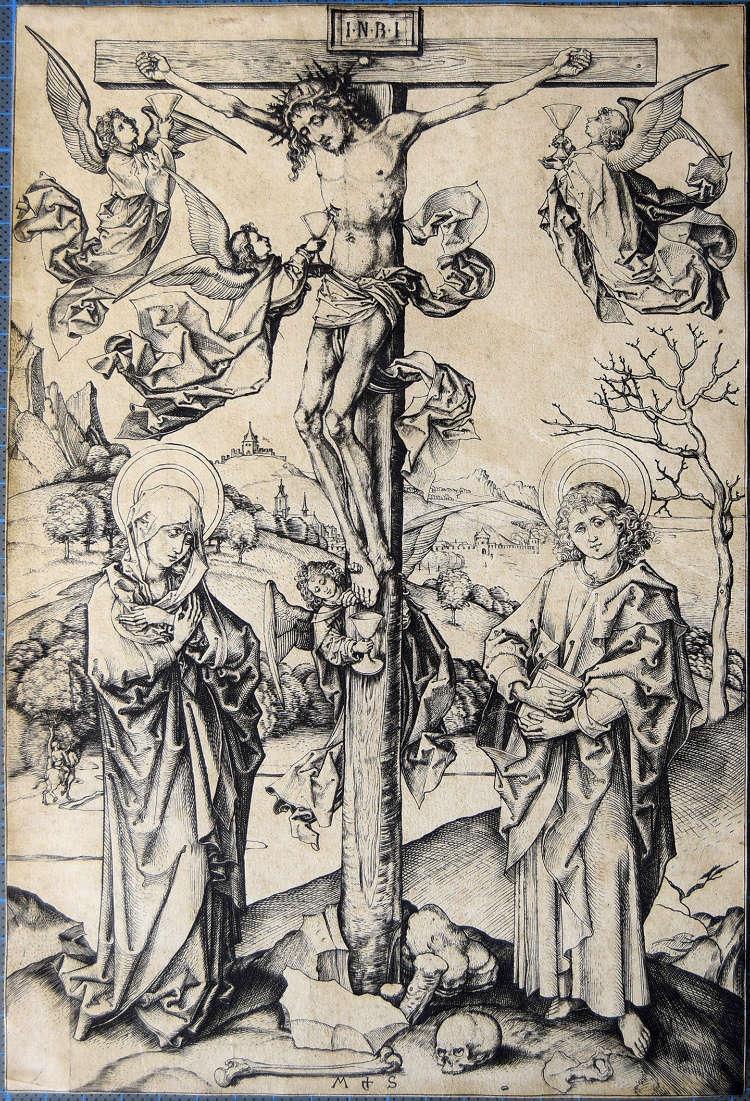 Kruisiging met vier engelen, Martin Schongauer, ca. 1480/1485 (Rijksmuseum)
