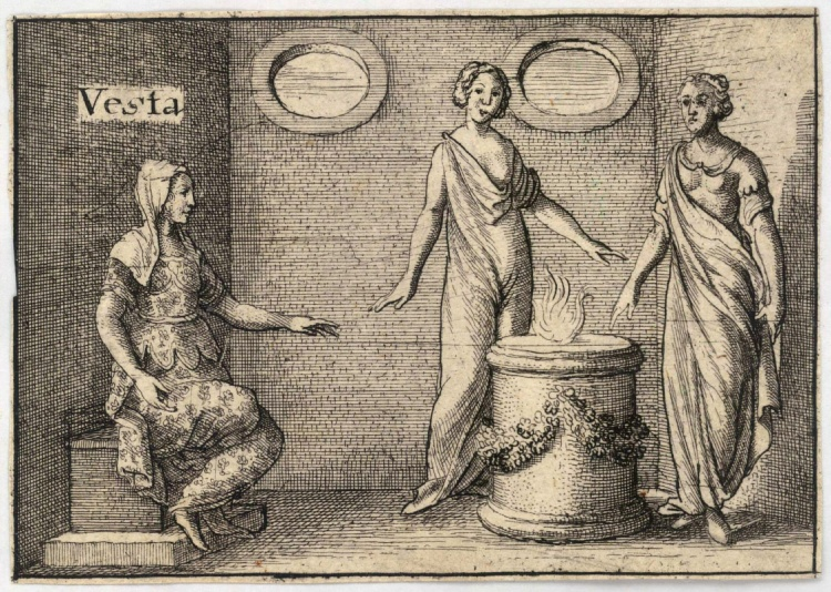 Godin Vesta en haar vlam (publiek domein)