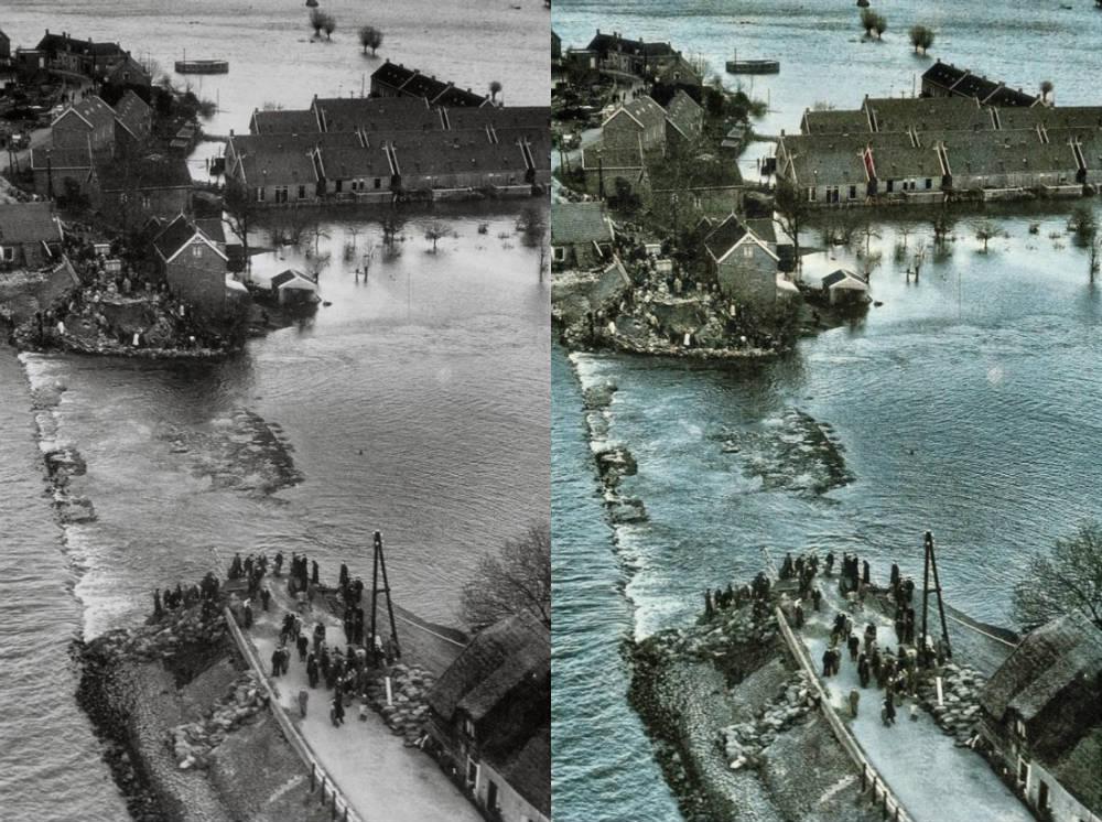 Watersnoodramp 1953 - Dijkdoorbraak in Den Bommel, Zuid-Holland (Origineel: Publiek Domein - Rijkswaterstaat - wiki)
