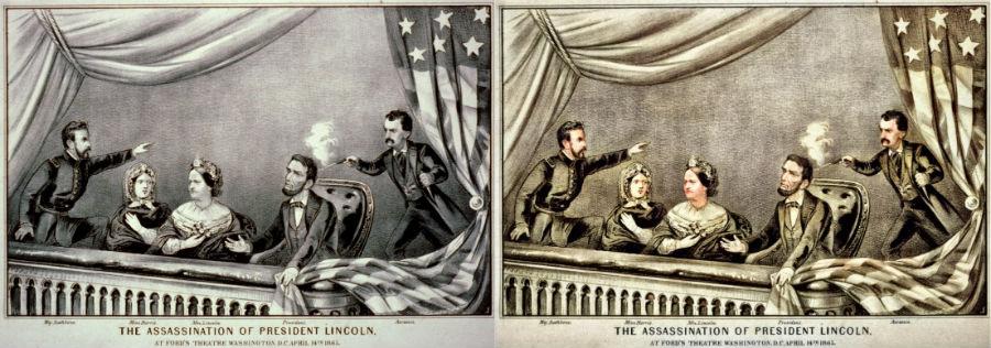 Moord op Lincoln, gravure van Currier en Ives (1865)