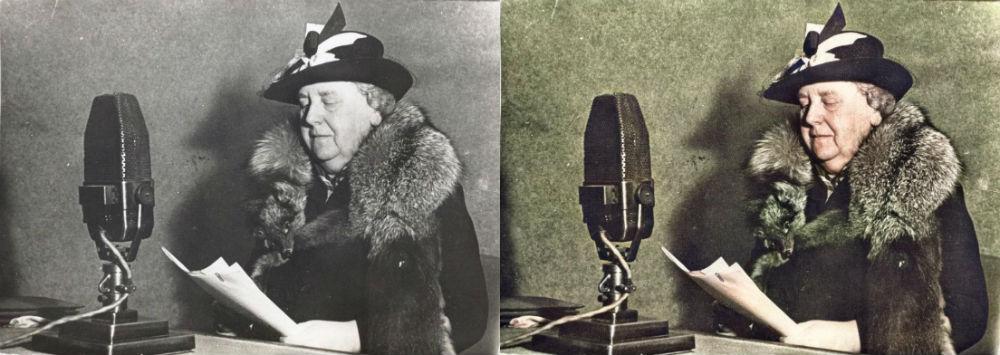 Voor en na: Koningin Wilhelmina bij Radio Oranje (Origineel: Publiek Domein - Nationaal Archief)