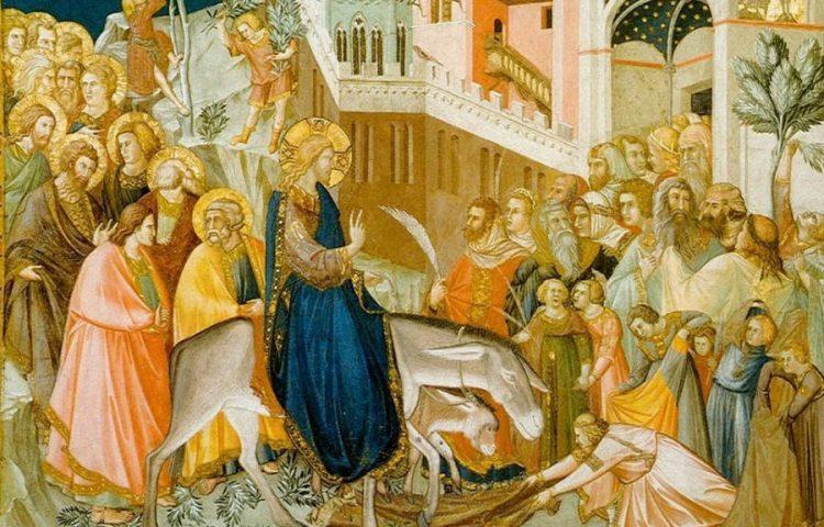 Palmpasen / Palmzondag - De intocht van Jezus in Jeruzalem (Publiek Domein - wiki)