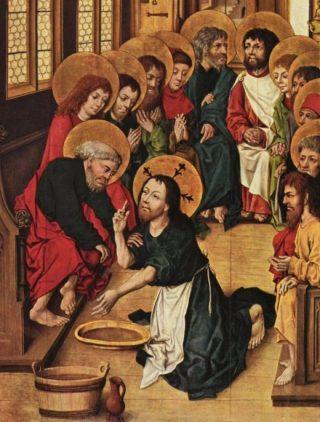 Verbeelding van de voetwassing - Meister des Hausbuches (Publiek Domein - wiki)