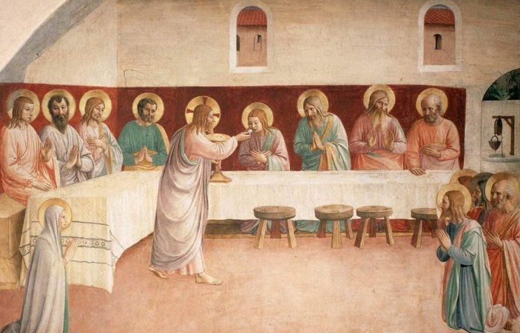 Witte Donderdag - Het Laatste Avondmaal op een fresco van Fra Angelico (Publiek Domein - wiki)