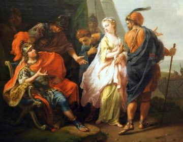 Iemand uit de tent lokken - Achilles verliest Briseïs - Johann Heinrich Tischbein de Oudere (Publiek Domein - wiki)