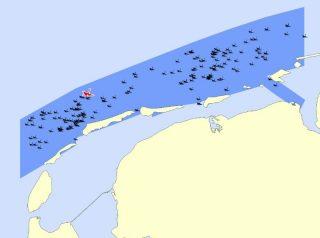 Overzicht van het zoekgebied, met bekende scheepswrakken (Afb: RCE)