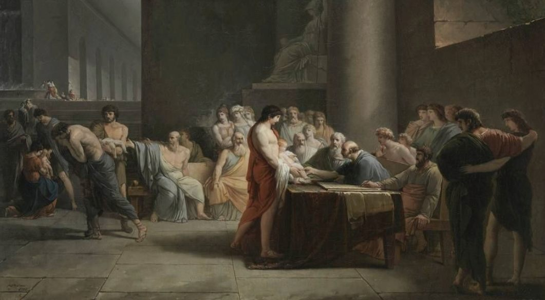 De selectie van kinderen in Sparta - Jean-Pierre Saint-Ours,  1785 (Publiek Domein - wiki)