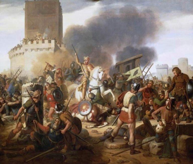 Graaf Odo verdedigt Parijs tegen de Vikingen, geschilderd door Jean-Pierre Franque, 1837 (Publiek Domein - wiki)