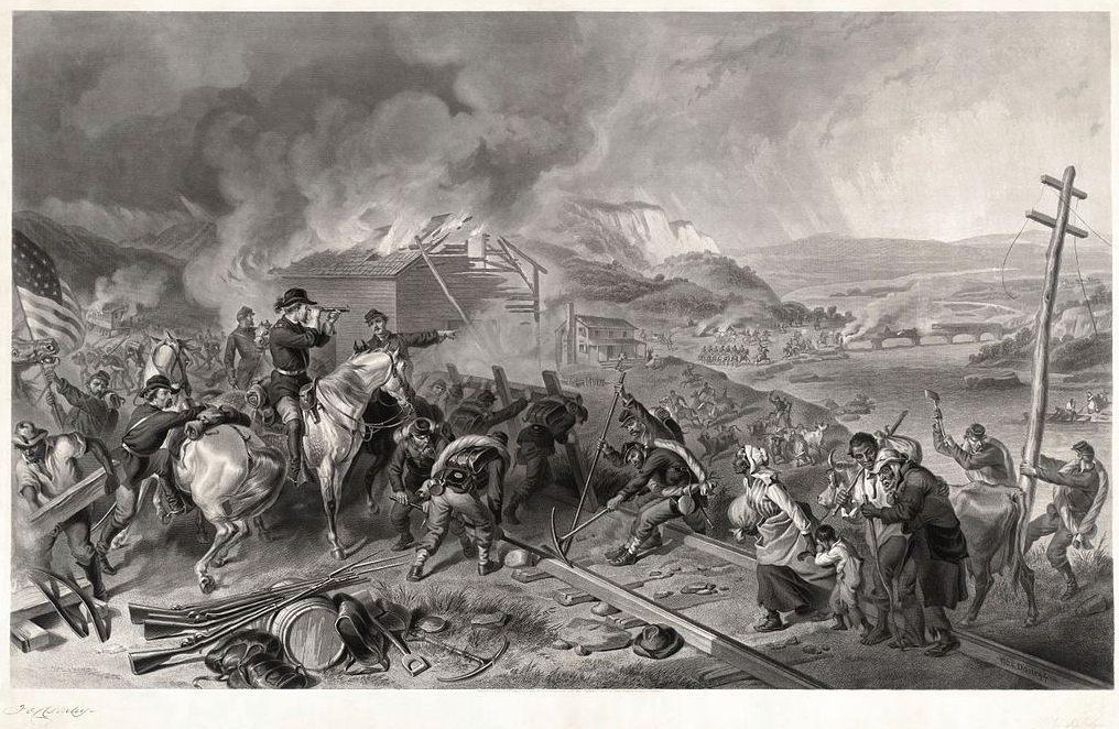 Shermans mars naar de zee, gravure door Alexander Hay Ritchie (Publiek Domein - wiki)
