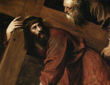 Simon van Cyrene neemt het kruis over van Jezus - Titiaan (Publiek Domein - wiki)