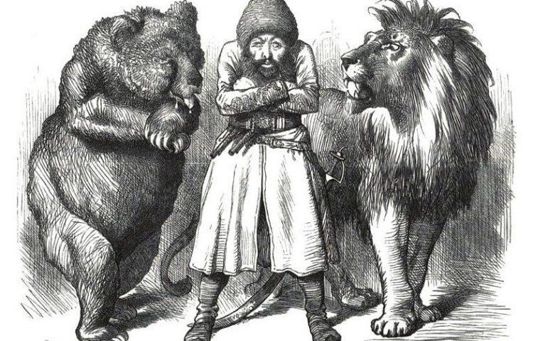 Invloedssfeer - Britse cartoon over de strijd tussen het Verenigd Koninkrijk en Rusland om invloed in Centraal-Azië (Publiek Domein - wiki)
