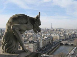 Beeld op de balustrade van de westgevel van de Notre-Dame (CC BY-SA 3.0 - Michael Reeve - wiki)