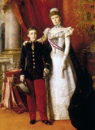 Alfons XIII met zijn moeder Maria Christina in 1898 - Luis Álvarez Catalá (Publiek Domein - wiki)