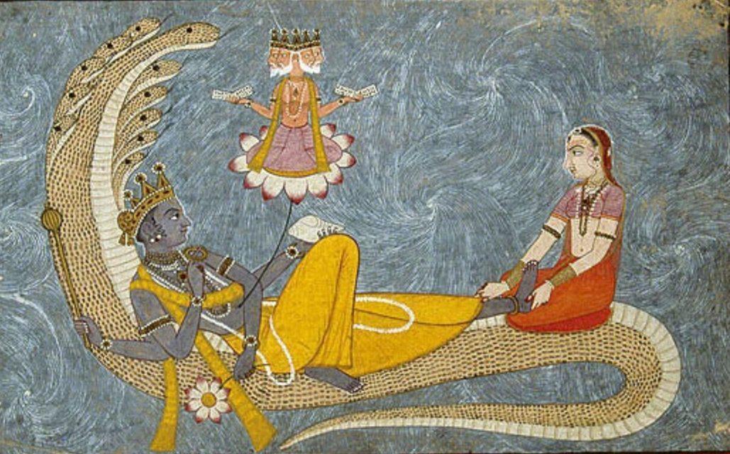 Brahma verschijnt uit de navel van Vishnoe (Publiek Domein - wiki)
