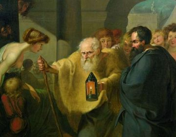 Diogenes op zoek naar een eerlijk man - Schilderij van J. H. W. Tischbein (ca. 1780)