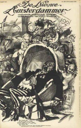 Slaap, Kamerlid, slaap' - Spotprent door J. Sluijters in De Nieuwe Amsterdammer, 25 november 1916 (Uit: Tussen politiek en publiek)