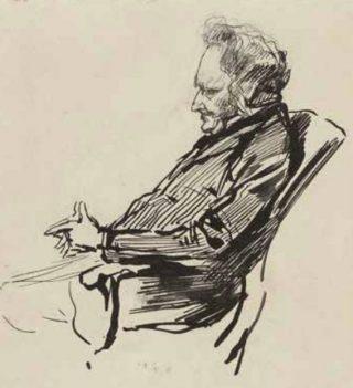 Schets met het portret van minister-president J. Heemskerk Azn. door P. de Josselin de Jong, 1887 (Uit: Tussen politiek en publiek)
