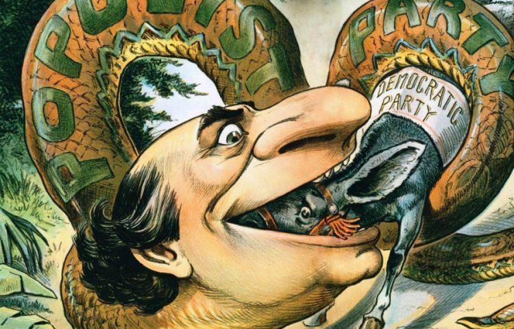 Populisme - Amerikaanse cartoon uit 1896 over een populist die de Democratische Partij opeet (Publiek Domein - wiki)