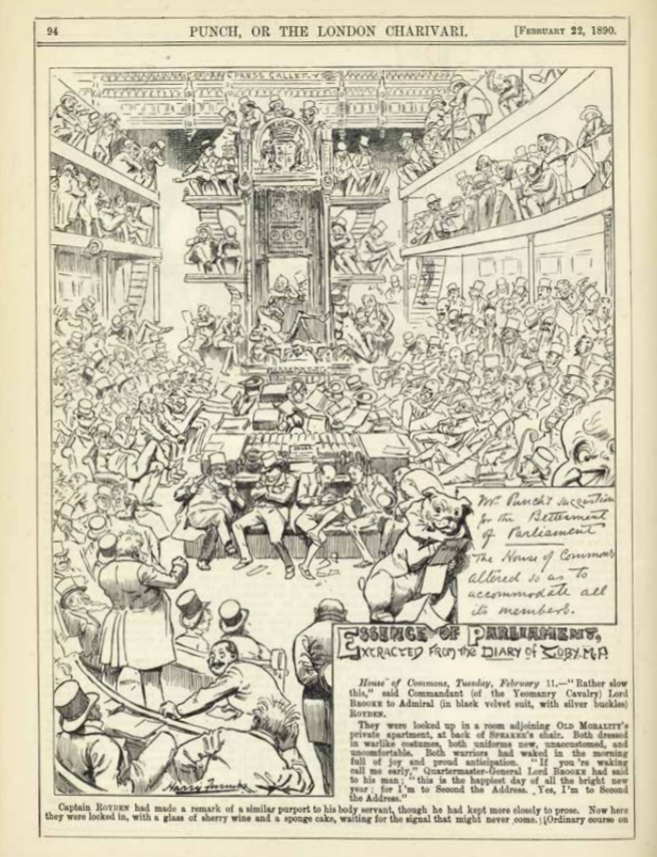 'Mr. Punch's suggestion for the Betterment of Parliament. The House of Commons altered so as to accommodate all its members' Prent in Punch or The London Charivari, 22 februari 1890. Bron: Tussen politiek & publiek