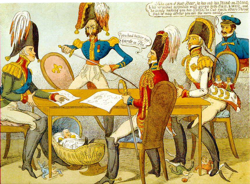 Spotprent na het Congres van Verona (1822), toen Engeland besloot zich afzijdig te houden van internationale ontwikkelingen door  'splendid isolation' (Wikipedia Commons)