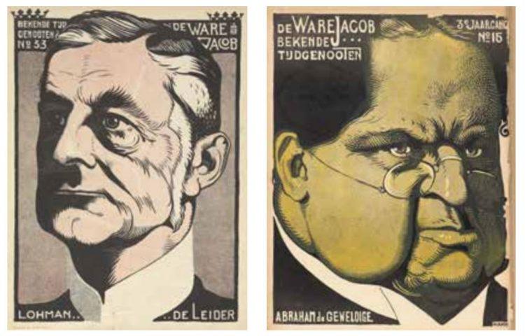 Twee bekende spotprenten van A. Hahn in 'De Ware Jacob'. Links CHU-leider Alexander de Savornin Lohman en rechts Abraham Kuyper (Uit: Tussen politiek en publiek)