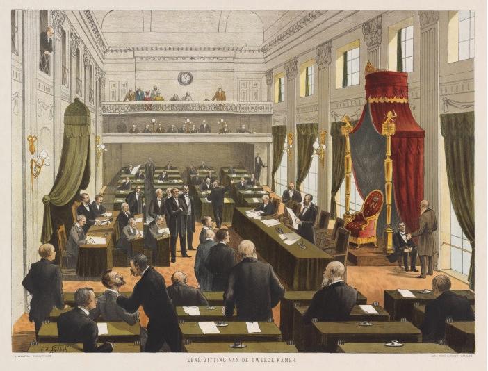 Eene zitting van de Tweede Kamer' Prent door G.J. Sijthoff uit de serie schoolplaten Onze beschavingsgeschiedenis in beeld (Haarlem 1904)