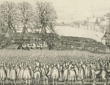 Executie van Reinier van Oldenbarnevelt, ets uit 1623 (Rijksmuseum)