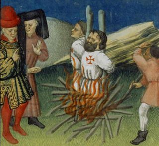 Terechtstelling van Jacques de Molay en Geoffroy de Charnays