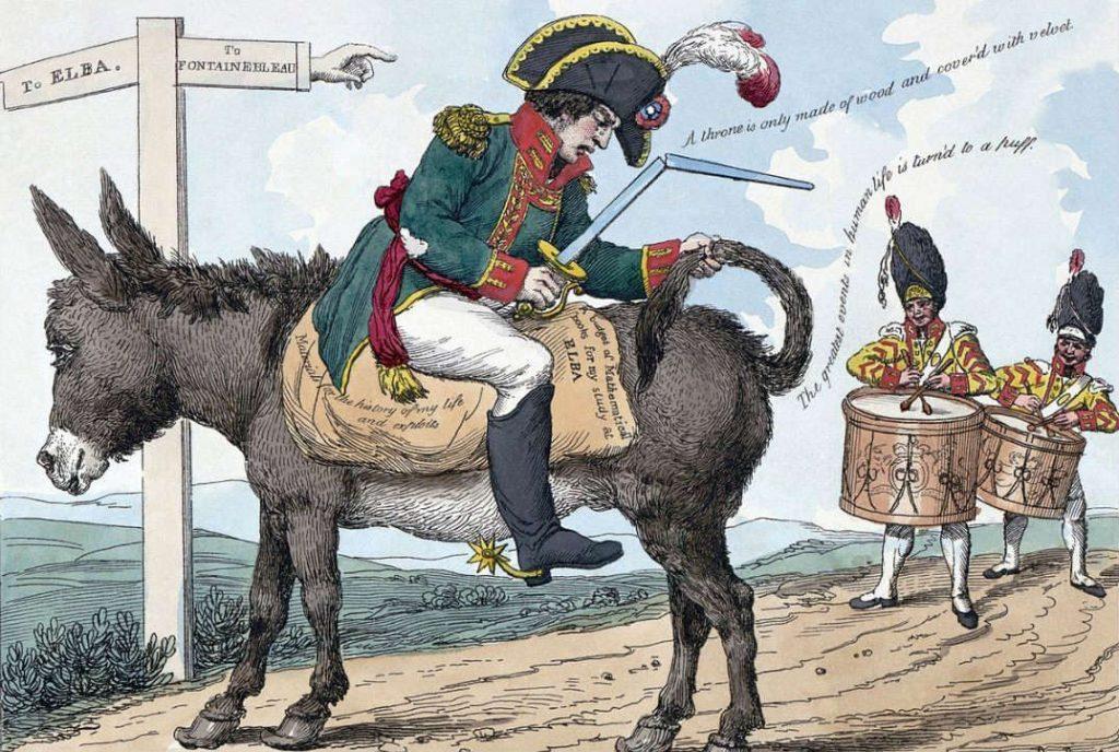 Spotprent over de verbanning van Napoleon naar Elba (Publiek Domein - Library of Congress - wiki)
