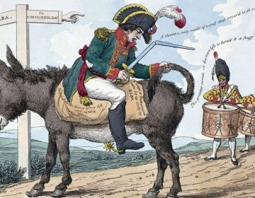 Spotprent over de verbanning van Napoleon naar Elba (Publiek Domein - Library of Congress - wiki)