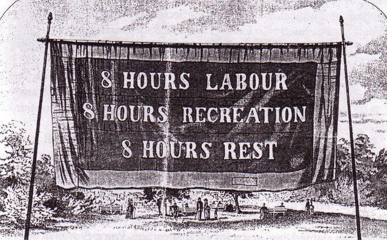 Campagne ter promotie van de achturige werkdag in Australië, 1856 (Publiek Domein, wiki)