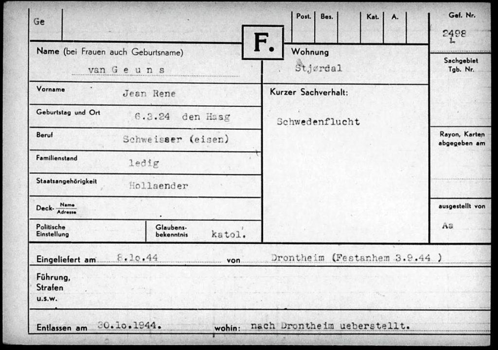 Noorse gevangenenkaart van Jean van Geuns (Familie-archief Van Geuns)