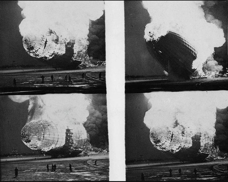 Beelden van de brandende zeppelin, uit een uitzending van Pathé (Publiek Domein - wiki)