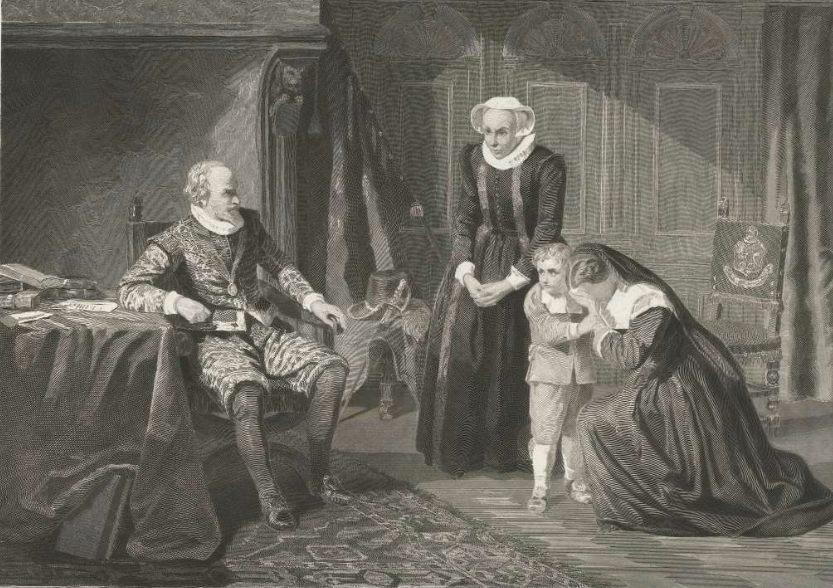 De moeder, vrouw en zoon van Reinier van Oldenbarnevelt smeken Maurits om genade, 1623 - Johann Wilhelm Kaiser (Rijksmuseum)