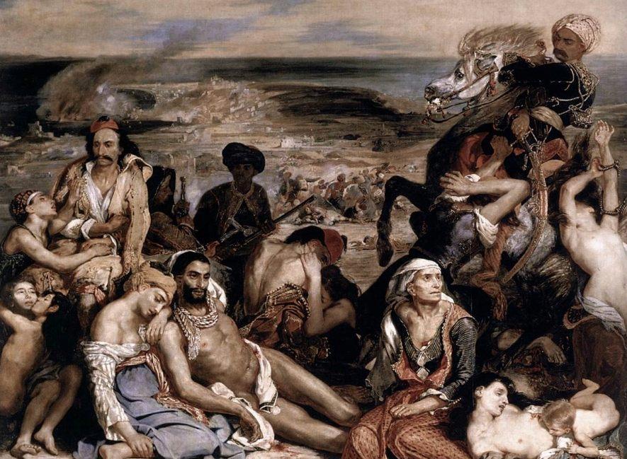 Het bloedbad van Chios - Detail van het schilderij van Eugène Delacroix