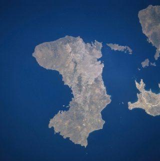 Moderne satellietfoto van Chios en omgeving (Publiek Domein - Nasa)