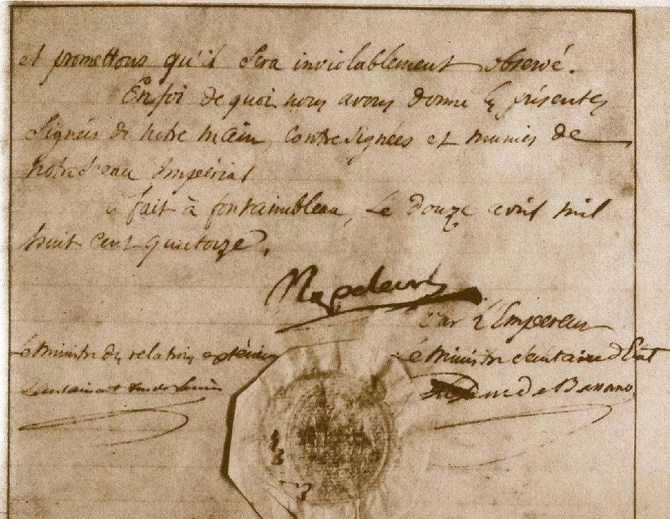 Akte van troonsafstand door Napoleon in 1814 (Publiek Domein - wiki)