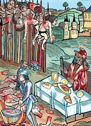 Afbeelding met enkele mannen die in opdracht van Vlad Dracula werden gespietst (Publiek Domein - wiki)