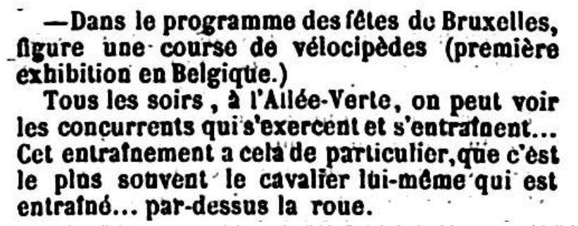 De eerste aankondiging van een wielerwedstrijd in België in La Meuse van 1 juli 1868