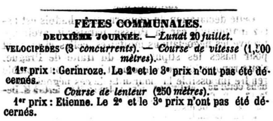 Uitslag van de wielerwedstrijden in L'Echo du Parlement van 21 juli 1868