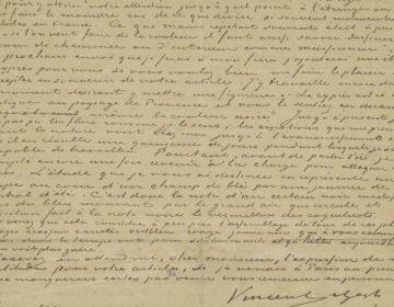 Fotobijschrift: Brief van Vincent van Gogh aan Albert Aurier (detail), 9 of 10 februari 1890. Van Gogh Museum, Amsterdam (schenking dhr. en mevr. Cheung Chung Kiu)