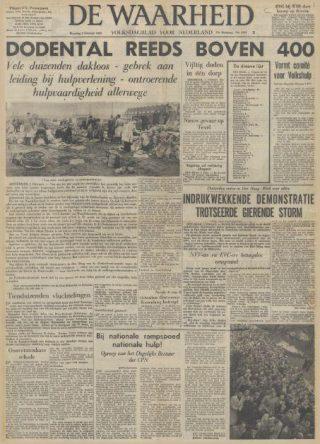 De Waarheid, 2-2-1953, pagina 1 - Bron: Delpher
