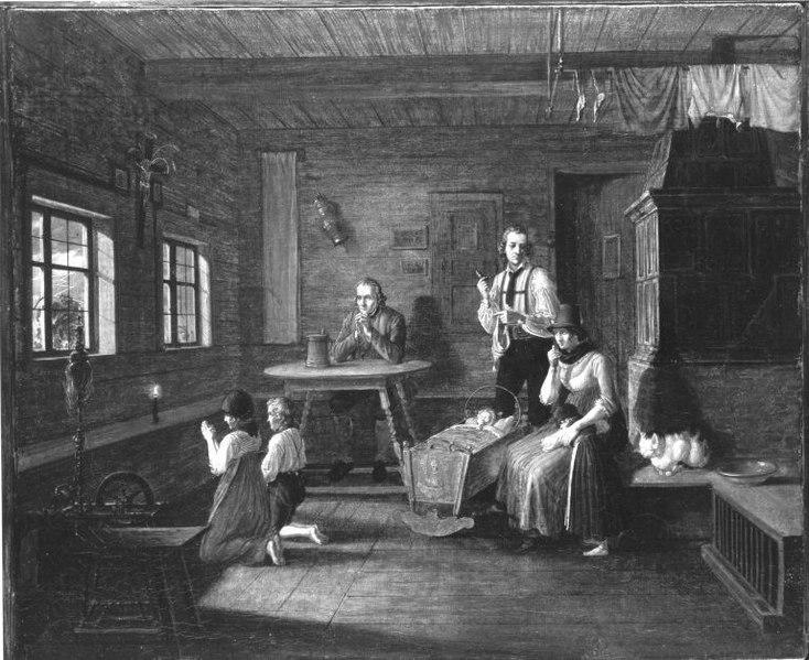 Boerenfamilie in gebed tijdens onweer (ca. 1833, Lorenzo Quaglio jr.)