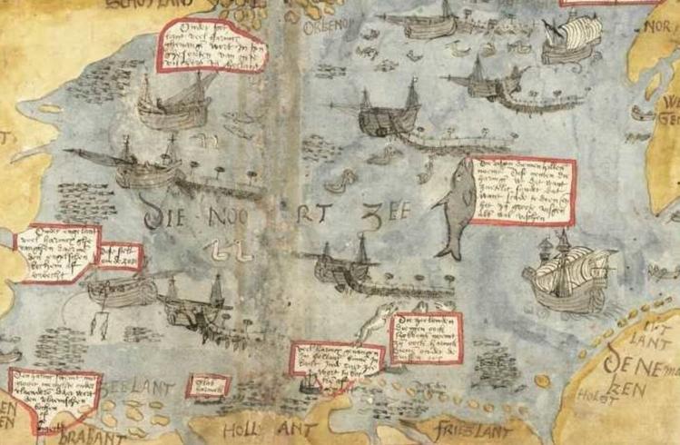 De Scheveningse visser Adriaan Coenen publiceerde in zijn 'Visboek' (1577-1581) speels aandoende tekeningen van de bijzonderheden op zee; hier een detail met vismethoden op de verschillende plaatsen in de Noordzee.